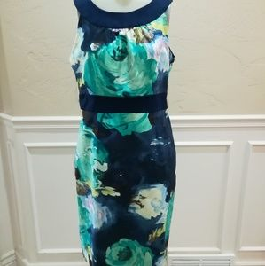 Merona blue and green watercolor dress